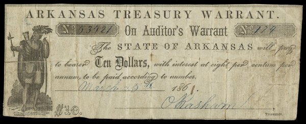AR Arkansas Treasury Warrant $10 1861