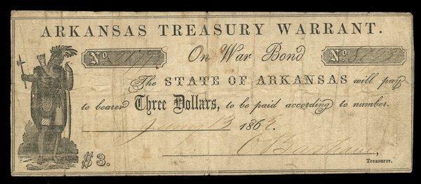 AR Arkansas Treasury Warrant $3 1862