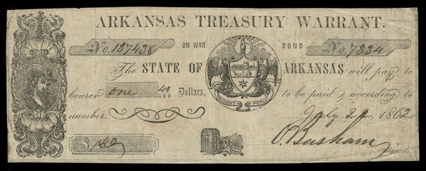 AR Arkansas Treasury Warrant $1 1862
