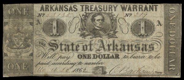 AR Arkansas Treasury Warrant 1862