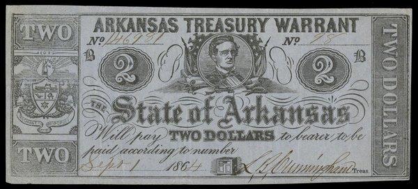 AR Arkansas Treasury Warrant $2 1864