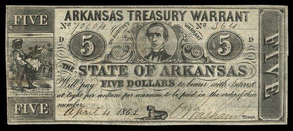 AR Arkansas Treasury Warrant $5 1862