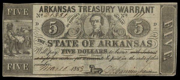 AR Arkansas Treasury Warrant $5 1863