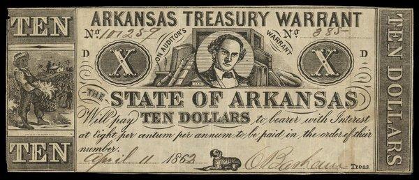 AR Arkansas Treasury Warrant $10 1863