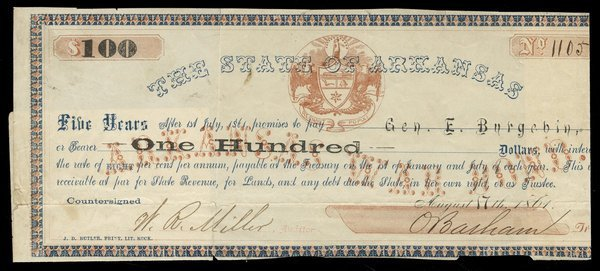 AR State of Arkansas $100 1861
