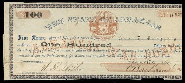 AR State of Arkansas $100 1861