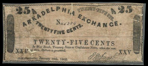 AR Arkadelphia Arkadelphia Exchange 25c 1862
