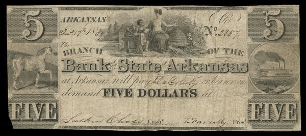 AR Arkansas Post Bank of the State of AR $5 1889