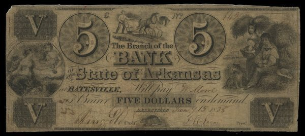 AR Batesville Branch of Bank of State of AR $5 1838