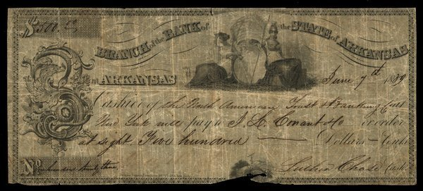 AR Branch of Bank of State of AR $500 1839