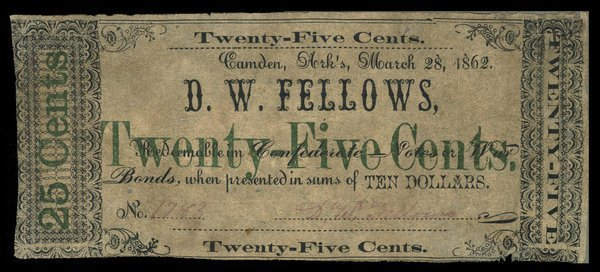 AR Camden D.W. Fellows 25c 1862