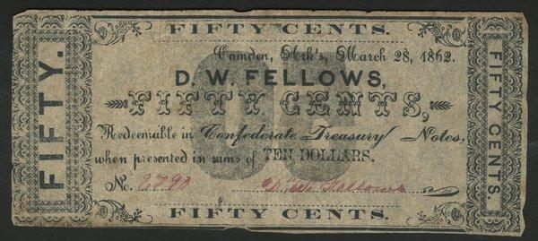 AR Camden D.W. Fellows 50c 1862