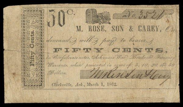 AR Clarksville M. Rose, Son & Carey 50c 1862