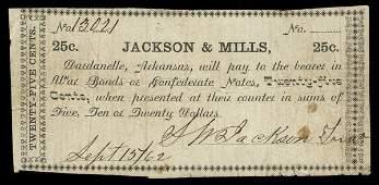 AR Dardanelle Jackson & Mills 25c 1862