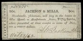 AR Dardanelle Jackson & Mills 50c 1862