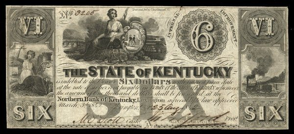 KY Lexington State of KY $6 1842
