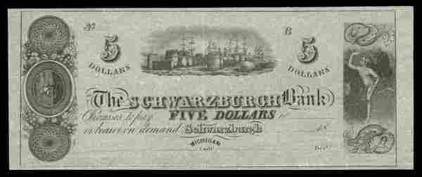 MI Schwarzburgh Schwarzburgh Bank $5 ca. 1838