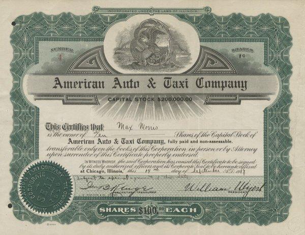 American Auto & Taxi 1917 10 shs VF