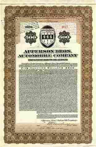 Apperson Bros. Automobile 1922 $500 VF+