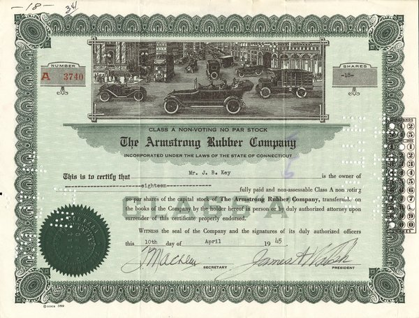 Armstrong Rubber 1945 18 shs VF+