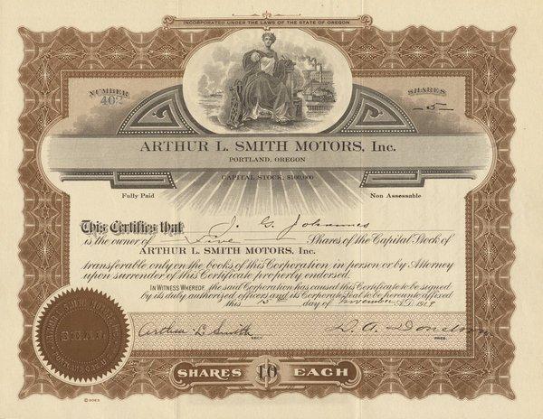 Arthur L. Smith Motors 1919 5 shs VF+