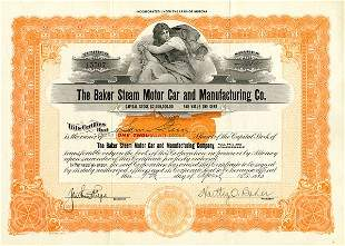 Pair of Baker Steam Motor Car & Mftg. Cert. (2)