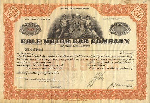 Cole Motor Car Certificate Pair (2)