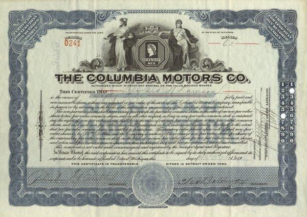 Columbia Motors Certifcate Trio (3)