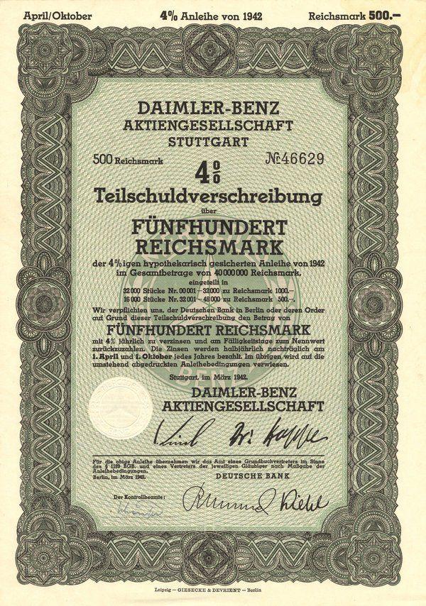 Daimler-Benz Aktien. Stutt. 1942 500 Marks