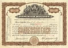 Dominion Motors Certificate Trio (3)
