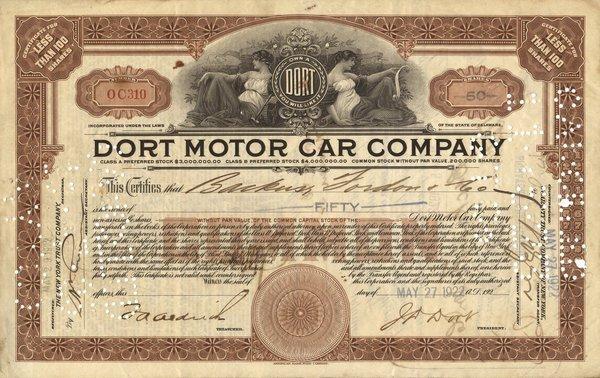 Dort Motor Car 1922 50 shs VF