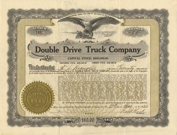 Double Drive Truck 1920 20 shs VF+