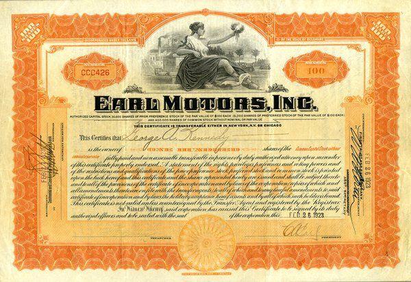 Earl Motors 1923 100 shs VF