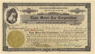 Elgin Motor Car 1917 20 shs VF+