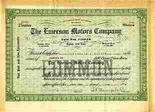 Emerson Motors 1916 5 shs VF