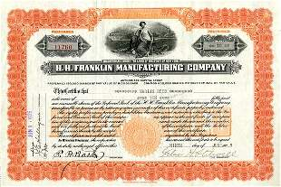 H.H. Franklin Mftg. 1925 10 shs VF+