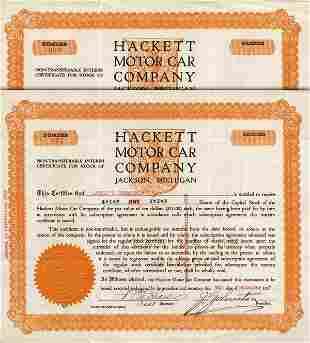 Hackett Motor Car Certificate Pair (2)