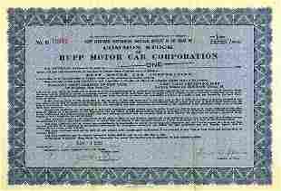 Hupp Motor Car 1928 1/40 sh VF+