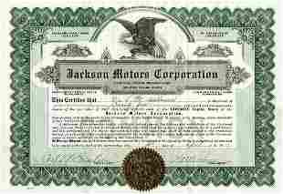 Jackson Motors 1919 75 shs VF+