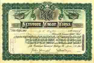 Keystone Wagon Works 1903 3 shs VF
