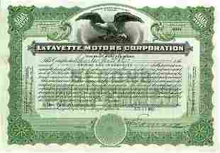 LaFayette Motors 1922 100 shs VF+