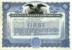 LaFayette Motors 1923 100 shs VF+