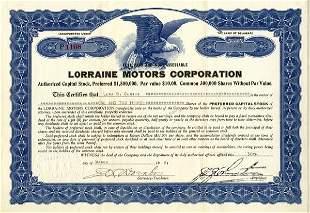 Lorraine Motors 1920 1 2/3 shs VF+
