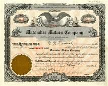 Macomber Motors 1918 20 shs VF+