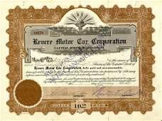 Revere Motor Car 1920 150 shs VF