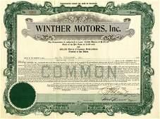 Winther Motors 1921 75 shs VF+