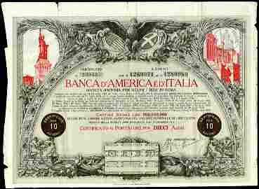 Banca D'America E D'Itaia 1917 10 shs VF
