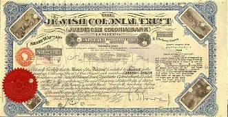 Jewish Colonial Trust 4/6/1936 100 shs VF