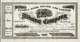 Puebla Gold Silver  Copper Mining 1878 100 shs