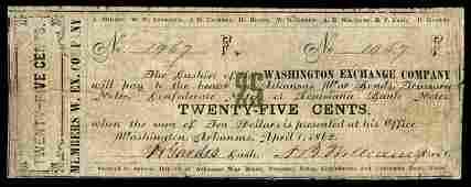 AR Washington Washington Exchange Co 25c 1862